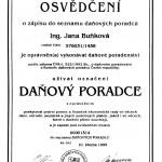 osvědčení Daňový poradce, ing. Buňková